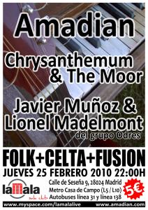 Póster del concierto Amadian + Javier & Lionel (del grupo Odres) + Chrysanthemum & The Moor